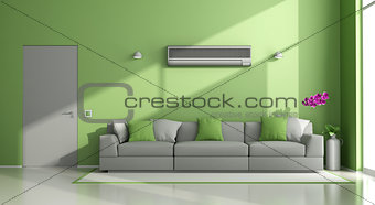 Green and gray modern lounge with air conditioner