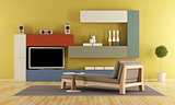 Contemporary Living room with colorful wall unit