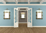 Retro interior with door and empty frames