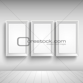 Three blank advertising signs on the wall template