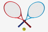 red and blue tennis rackets