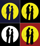 Couple and full moon