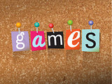 Games Pinned Paper Concept Illustration