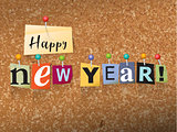 Happy New Year Pinned Paper Concept Illustration