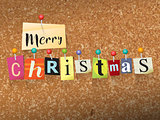 Merry Christmas Pinned Paper Concept Illustration