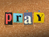 Pray Pinned Paper Concept Illustration