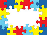Autism Colored Puzzle Frame Illustration