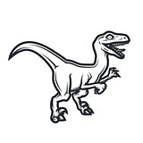 Prehistorical dino Logo concept. Raptor insignia design. Jurassic dinosaur illustration. T-shirt concept on white background.