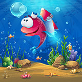 Underwater world with funny fish background