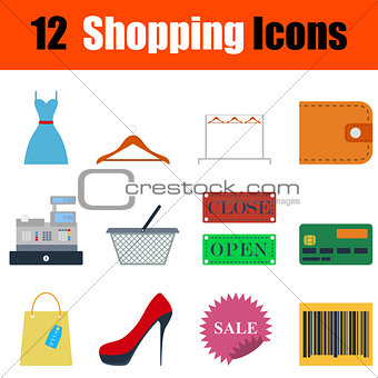 Flat design shopping icon set