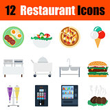 Flat design restaurant icon set