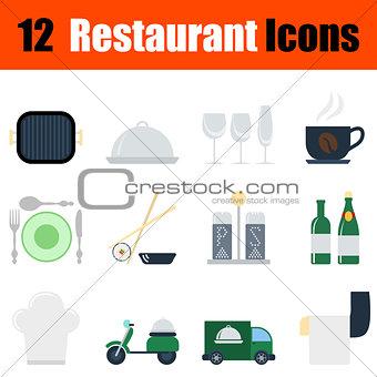 Flat design restaurant icon set