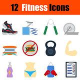 Flat design fitness icon set