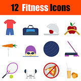Flat design fitness icon set