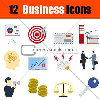 Flat design business icon set