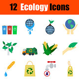 Flat design ecology icon set