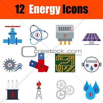 Flat design energy icon set