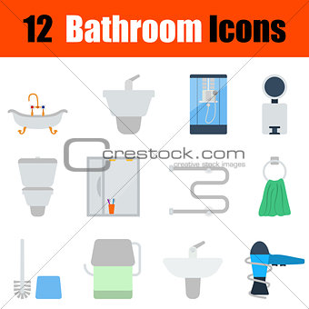 Flat design bathroom icon set