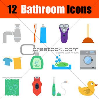 Flat design bathroom icon set