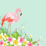 Flowers and pink flamingo