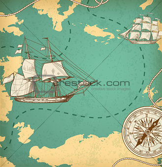 Ancient map with ships and compass