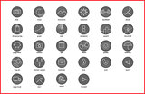 Linear thin icons symbols set.