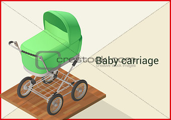Baby carriage vector isometric flat
