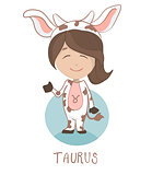 Cute cartoon vector character. Children horoscope icon, funny little girl in a cow costume as a taurus.