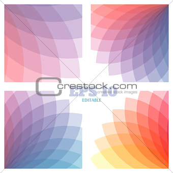 Abstract vector geometrical backgrounds set. Beautiful rainbow transparent colors.