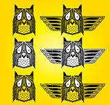 Ornamental ethnic indian style owl vector illustration