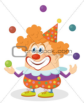 Circus clown juggling balls