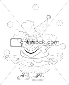 Circus clown juggling balls, contour