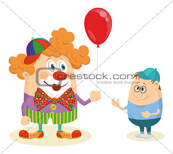 Circus clown with balloon and boy