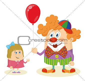 Circus clown with balloon and girl