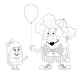 Circus clown with balloon and girl, contour