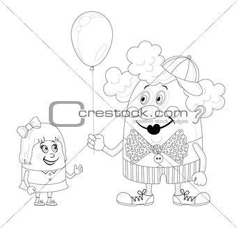 Circus clown with balloon and girl, contour