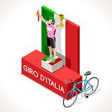 Cyclist Giro Italia Winner Isometric Cyclist People