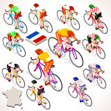 Cyclist Tour France Isometric Cyclist People