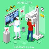 Dental panoramic teeth x ray radiography oral imaging dental centre dentist and patient.