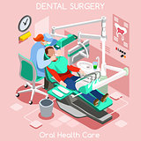 Dental implant teeth hygiene and whitening oral surgery centre dentist and patient.