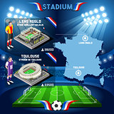 France stadium infographic Stade de Lens Agglo and Toulouse.
