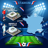 France stadium infographic Stade de Lille and Marseille.