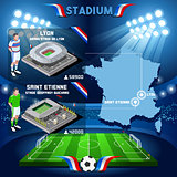 France stadium infographic Stade de Lyon and St Etienne Guichard. France stadium Icon.
