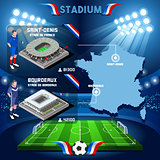 France stadium infographic Saint Denis Stade de France and Bordeaux.