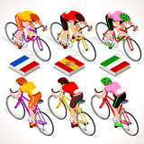 Vector Cyclists Tour Isometric People