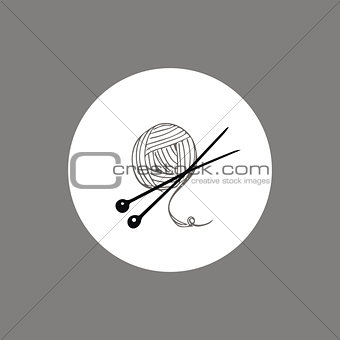 Knitting yarn skein and needles icon or logo design