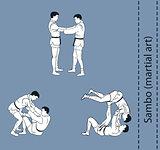 Illustration, men demonstrate the fight of SAMBO
