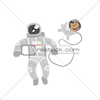 Astronaut In Space With Dog