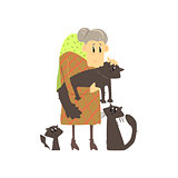 Old Lady With Three Cats