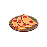 Three Quesadillas On Plate